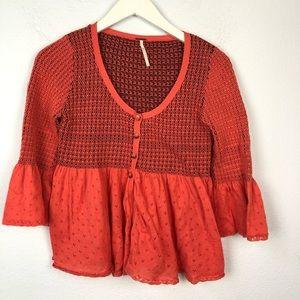 Free People orange short sleeve cardigan sweater